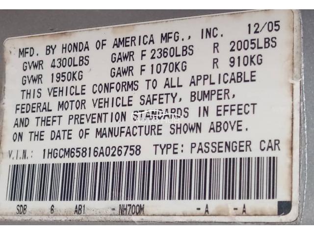 2006 Honda Accord Gold